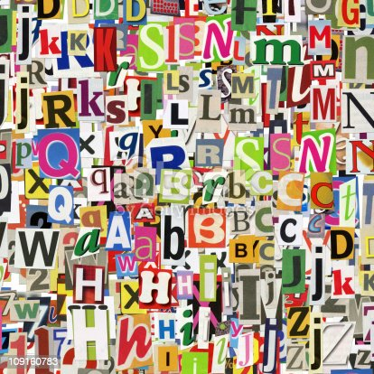 123180230 istock photo Multicolor alphabet collage with many fonts 109160783