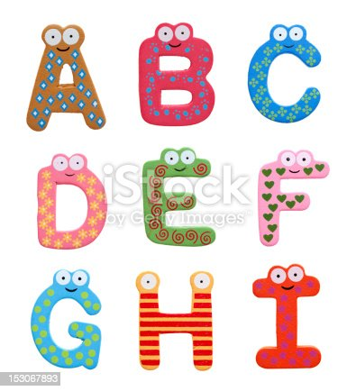 istock Multicolor alphabet fridge magnet letters isolated on white background 153067893