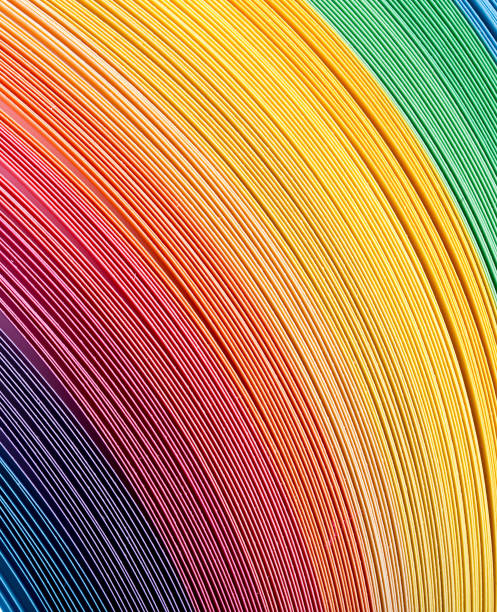다른 색상의 골판지에서 여러 가지 빛깔의 배경 스톡 사진
