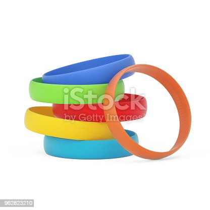 Multicolor Blank Promo Silicone or Rubber Bracelets on a white background. 3d Rendering