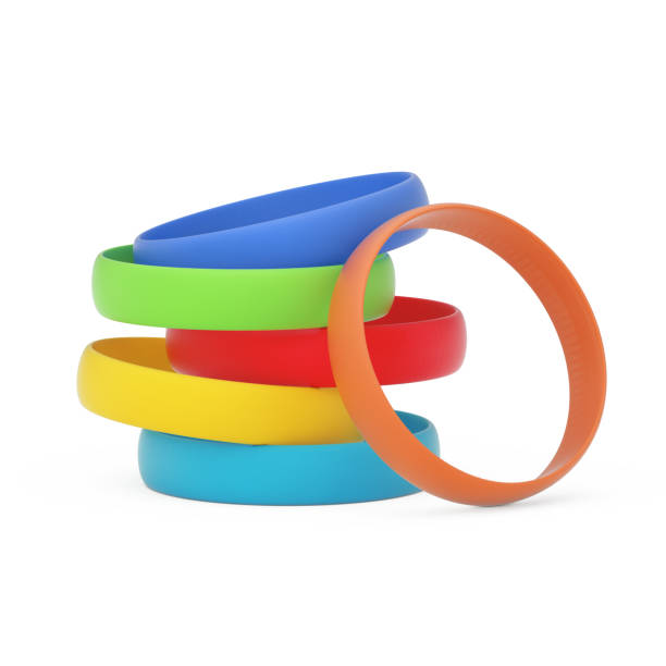 Multicolor Blank Promo Silicone or Rubber Bracelets. 3d Rendering Multicolor Blank Promo Silicone or Rubber Bracelets on a white background. 3d Rendering silicon stock pictures, royalty-free photos & images