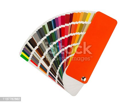 front view close up of multicolor color pantone  paper spectrum sampler isolated on white background