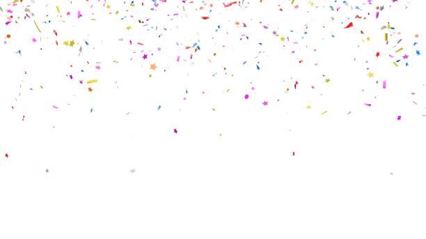 multicolor confetti abstracte achtergrond met veel vallende stukken, geïsoleerd op een witte achtergrond. feestelijke decoratieve klatergoud element voorontwerp. - confetti stockfoto's en -beelden