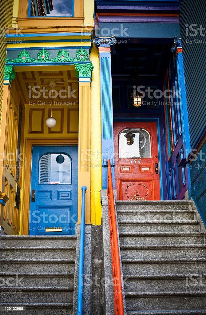 Multicolor doors in Haight Ashbury stock photo