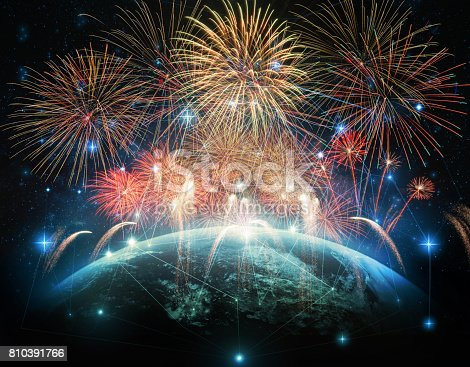 istock Multicolor Firework Celebration over the Part of earth with network line and point on the star and Milky Way background, Elements of this image furnished by NASA, Independence day concept 810391766