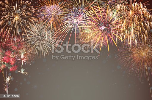 istock Multicolor Firework Celebration over the working space for text on transparent background, Greeting and card celebration concept 901215530