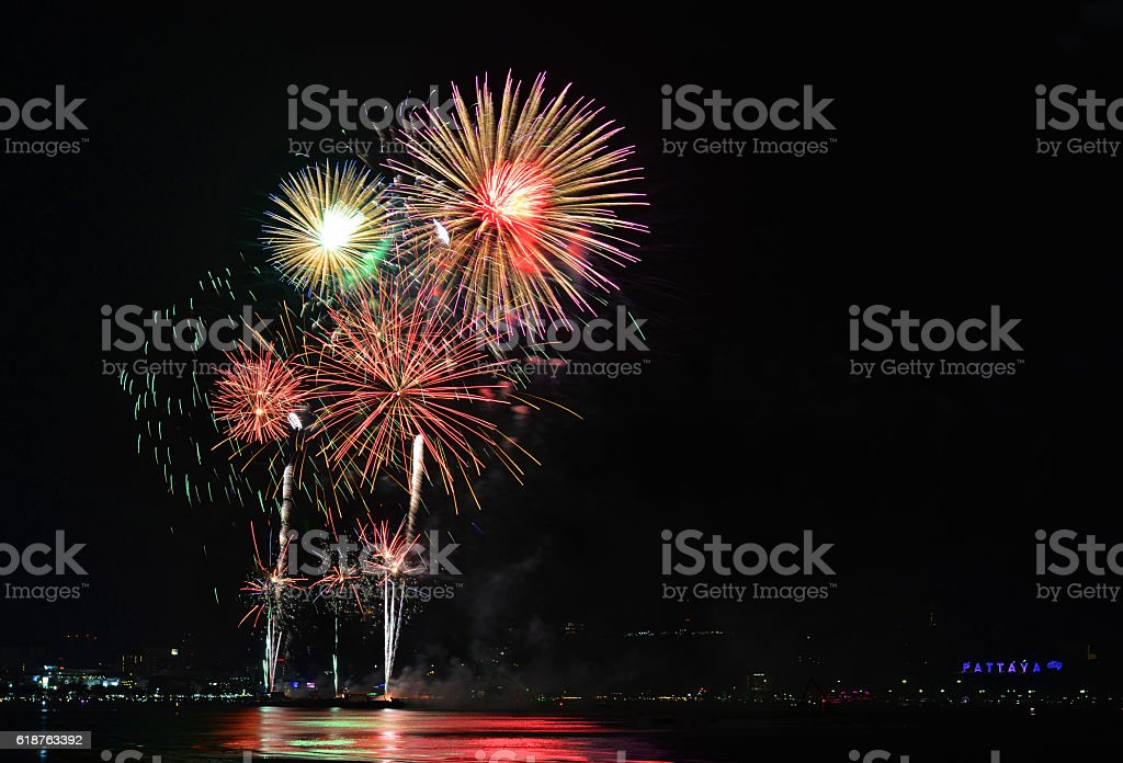Multicolor fireworks night scene stock photo