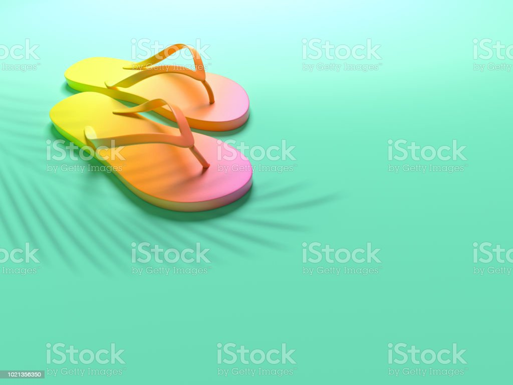 8ebaf3c8a70b Multicolor flip flops isolated on green background Summer vacation concept.  Minimal abstract colorful wallpaper concept. Velvet season. Flat lay.