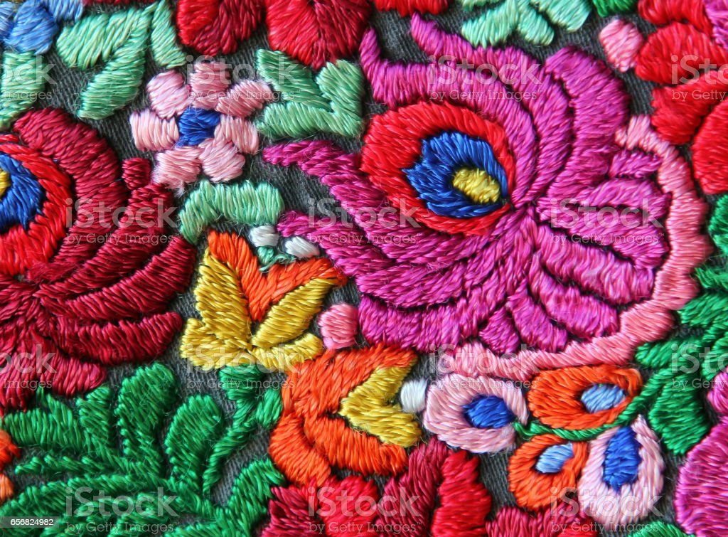 Multicolor floral hand embroidery pattern - foto de stock