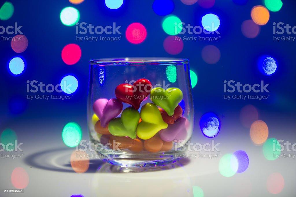 Mehrfarbig Herzform aus Glas – Foto