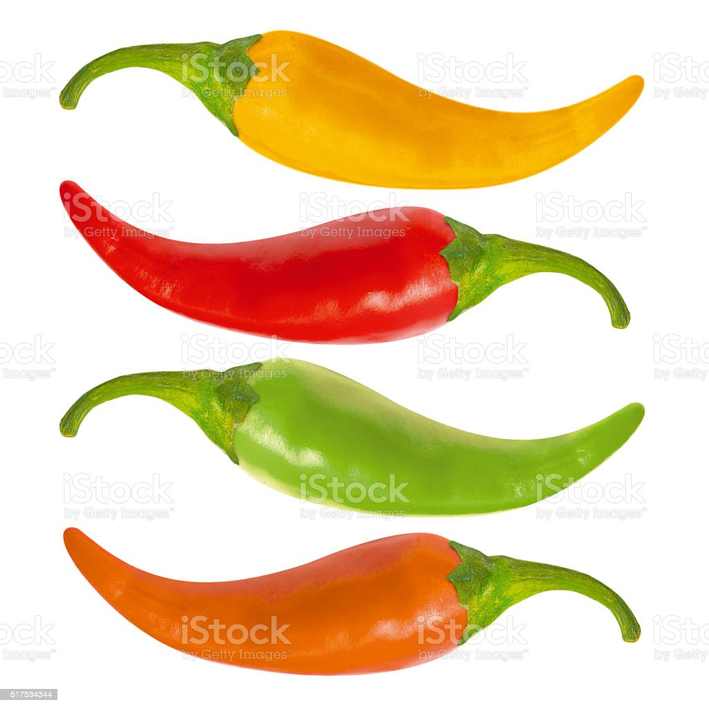 Multicolor hot chili peppers stock photo