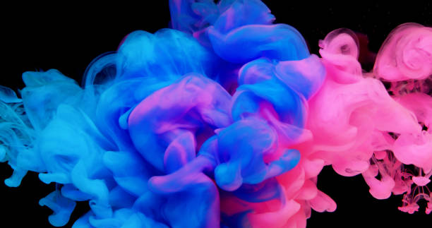 Multicolor liquid impact stock photo