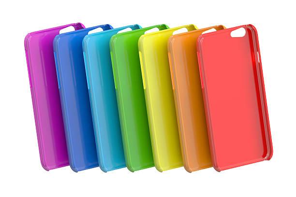 Multicolor Mobile Phone plastic cases. 3D rendering stock photo