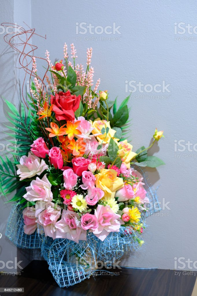 Multicolor Of Artificial Flowers On The Table Decorate The Room With Grey Background Stock Photo Download Image Now Istock