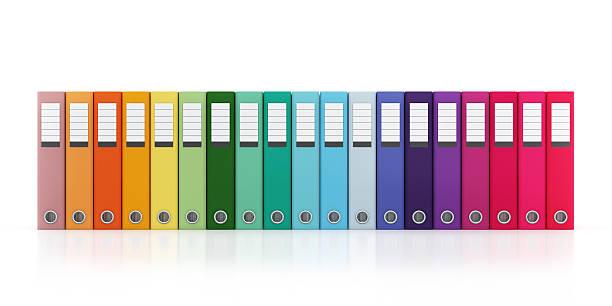Mehrfarbig Büro-Ordner-Datei Horizontale Komposition Isoliert – Foto