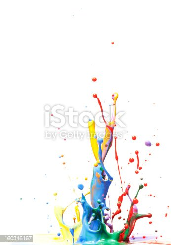 istock Multicolor Paint Splash Isolated on White 160346167