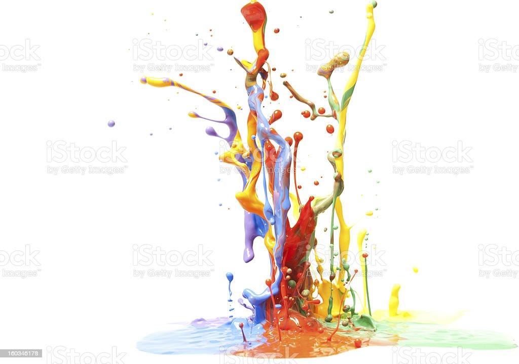 Multicolor Paint Splash Isolated on White stock photo