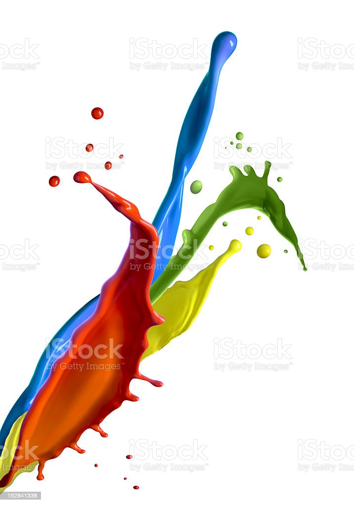 Multicolor paint splashes royalty-free stock photo