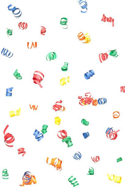 Multicolore papier Confetti spirales la baisse, isolé sur blanc - Photo