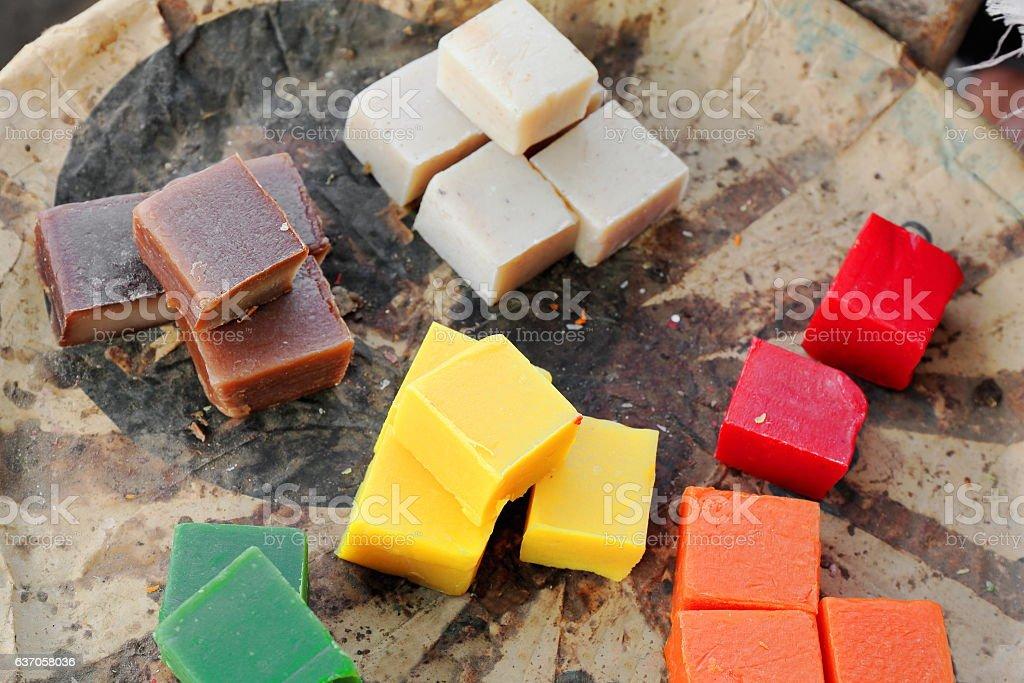 Multicolor pieces of soap. Ziguinchor-Senegal. 2398 stock photo
