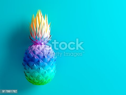 917861766istockphoto Multicolor pineapple on blue background 3D rendering 917861762