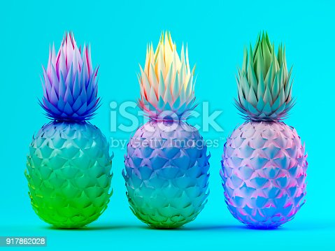 917861766istockphoto Multicolor pineapples on blue background 3D rendering 917862028