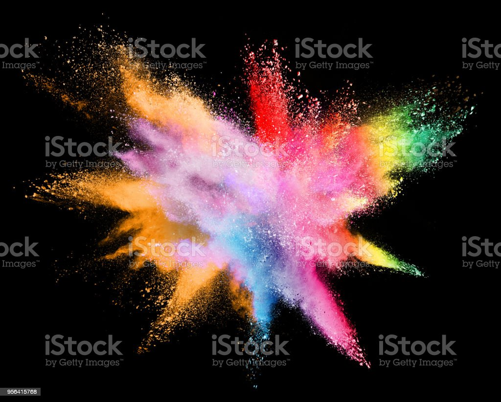 Multicolor powder explosion on black background. Colored cloud. Colorful dust explode. Paint Holi. stock photo