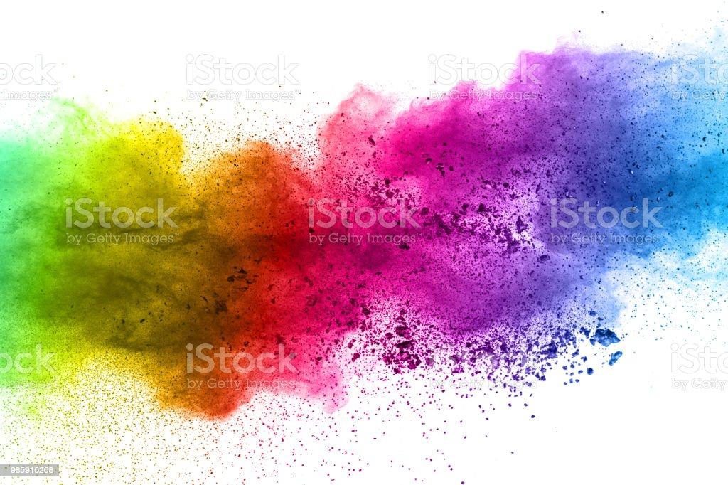 Explosion de poudre multicolore sur fond blanc. Nuages colorés. Explosion de poussière colorée. Holi peinture - Photo de Abstrait libre de droits
