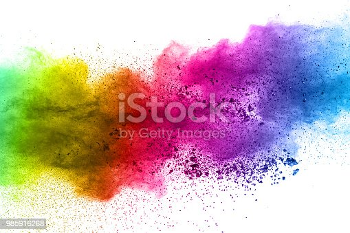 istock Multicolor powder explosion on white background. Colored cloud. Colorful dust explode. Paint Holi 985916268