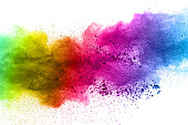 Multicolor powder explosion on white background. Colored cloud. Colorful dust explode. Paint Holi