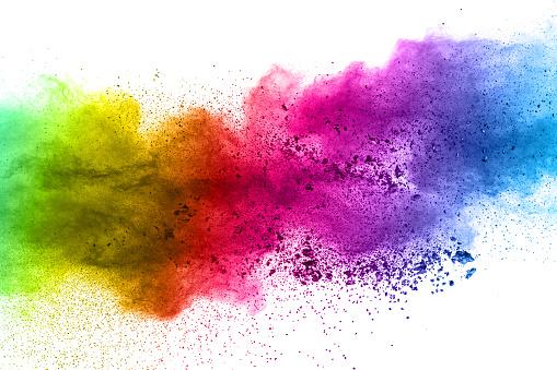 Photo libre de droit de Explosion De Poudre Multicolore Sur Fond Blanc Nuages Colorés Explosion De Poussière Colorée Holi Peinture banque d'images et plus d'images libres de droit de Abstrait
