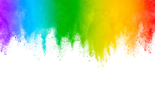 istock Multicolor powder explosion. The particles of charcoal splatter on white background. Closeup of colored dust particles splash isolated on background. 1037644368