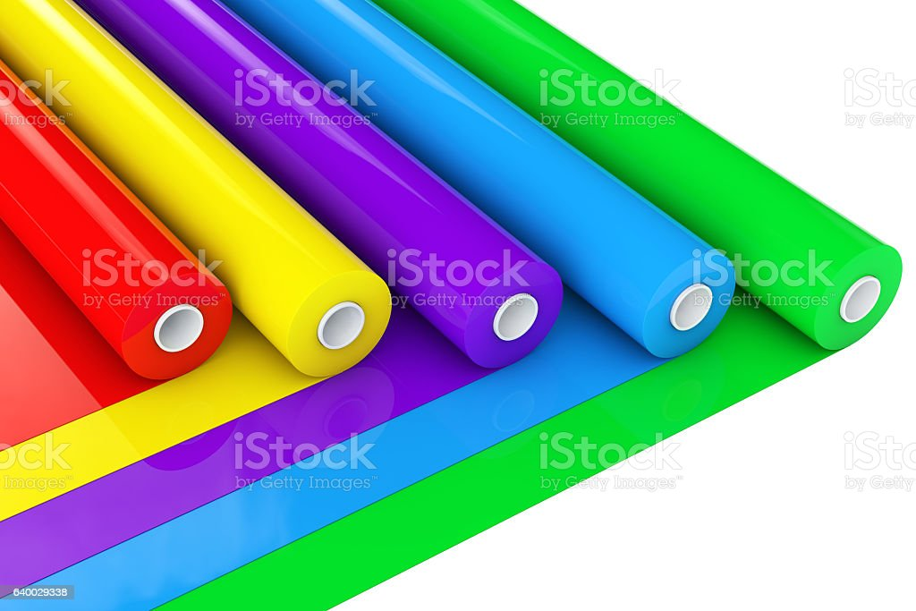 Multicolor PVC Polythene Plastic Tape Rolls or Foil. 3d Renderin stock photo