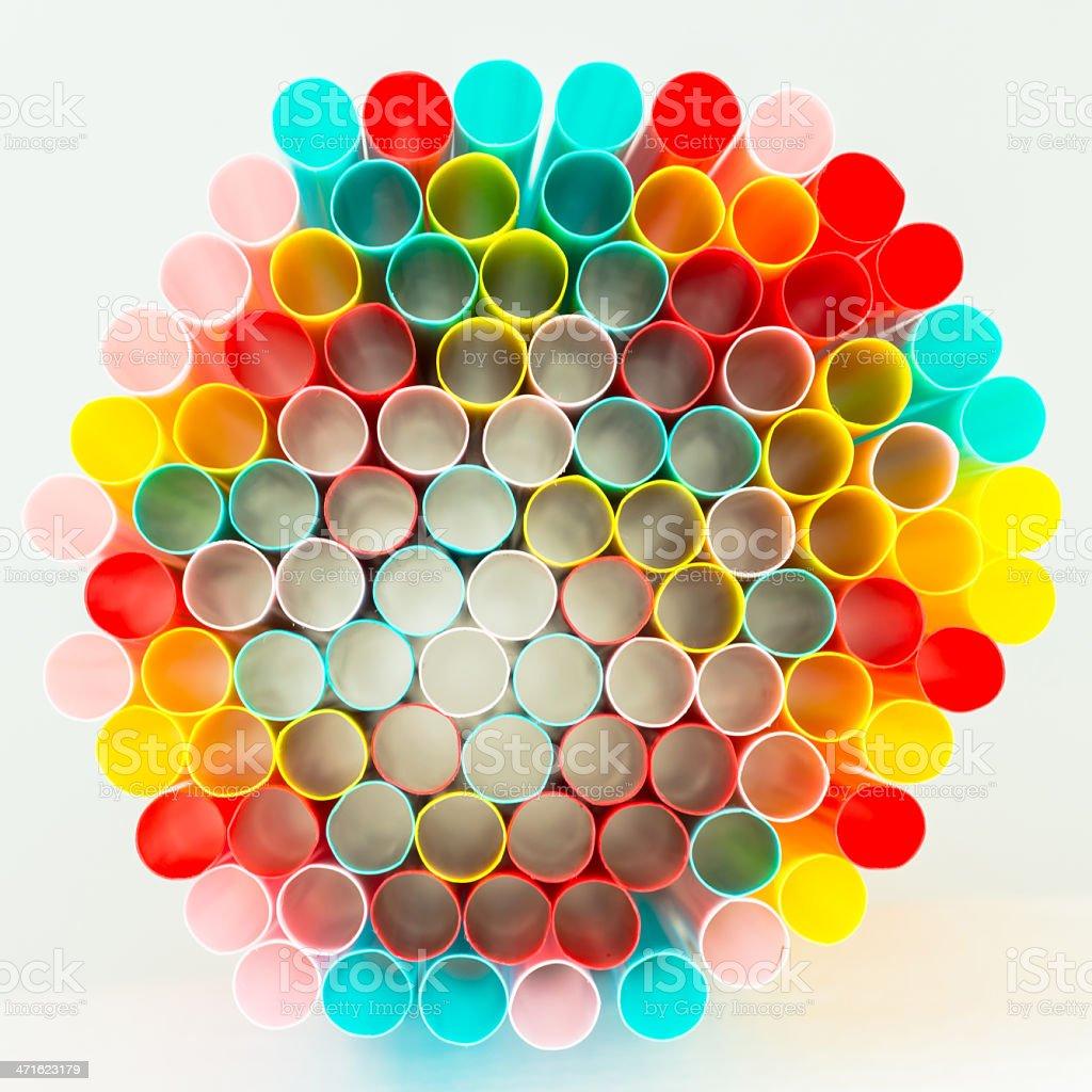 multicolor radiation of drinking straws royalty-free stock photo