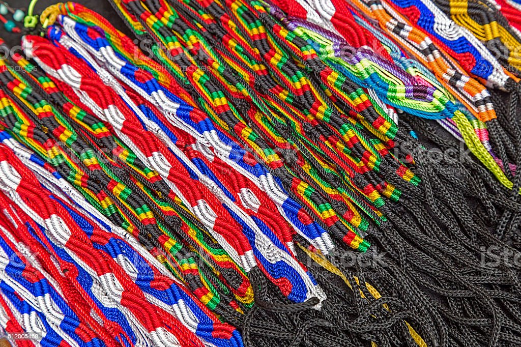 Multicolor shoelaces stock photo