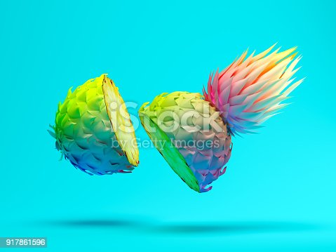 917861766istockphoto Multicolor slice pineapple on blue background 3D rendering 917861596