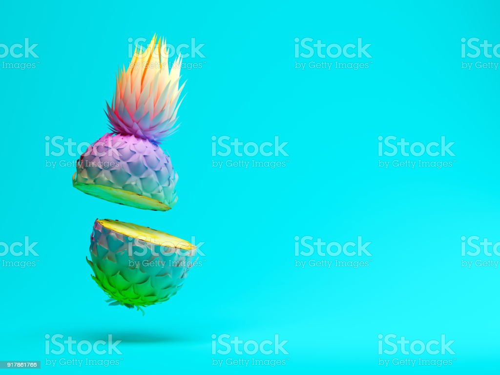 Multicolor slice pineapple on blue background 3D rendering royalty-free stock photo