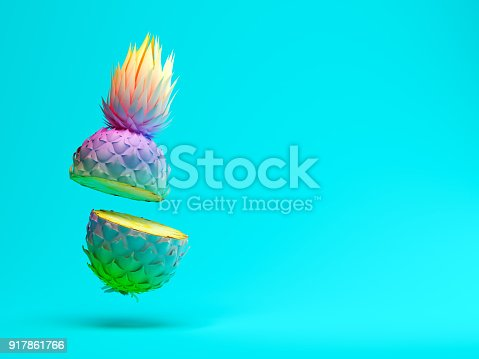 917861766istockphoto Multicolor slice pineapple on blue background 3D rendering 917861766