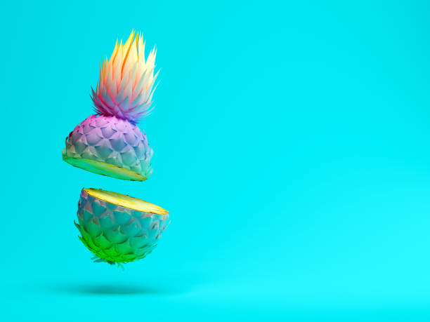 Multicolor slice pineapple on blue background 3D rendering stock photo