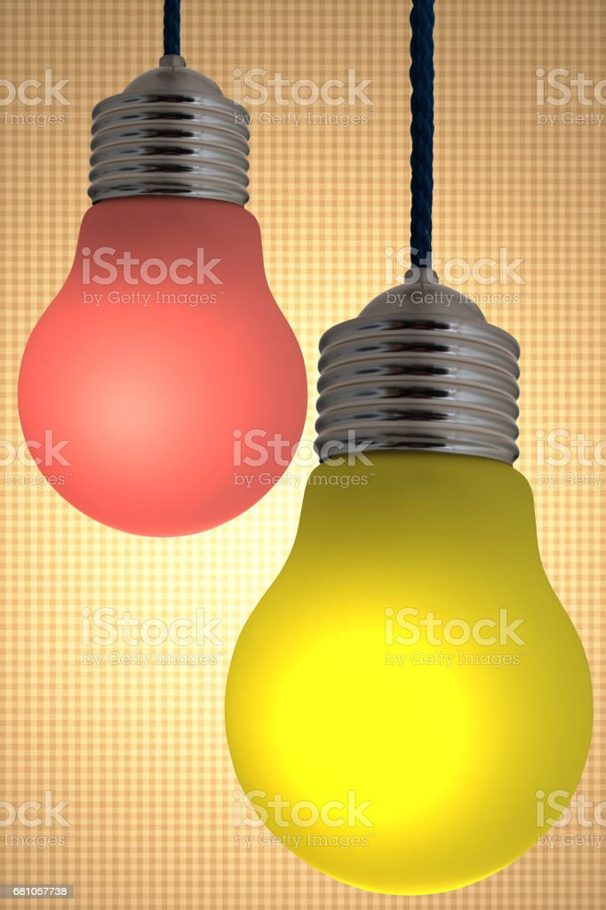 Multicolor suspended lamps royalty-free stock photo