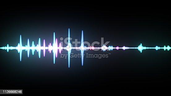 istock Multicolor waveform spectrum, imagination of voice record, artificial intelligence, 3d illustration 1126668246