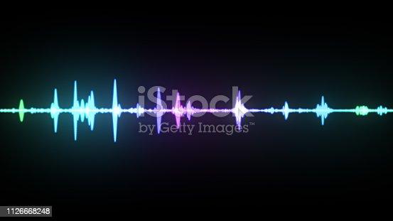 istock Multicolor waveform spectrum, imagination of voice record, artificial intelligence, 3d illustration 1126668248