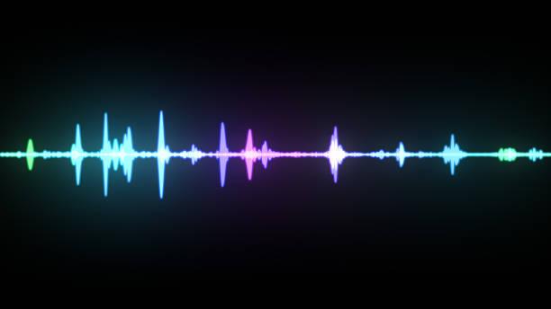 Espectro de onda multicolor, imaginação de gravação de voz, inteligência artificial, ilustração 3d - foto de acervo