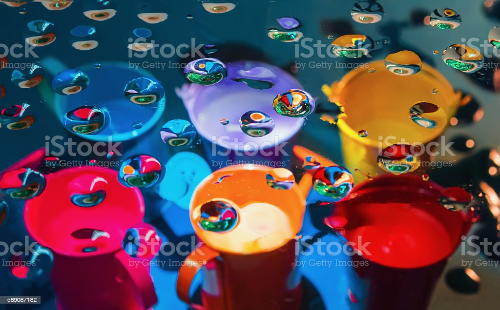 Multicolored abstract background through drops stock photo
