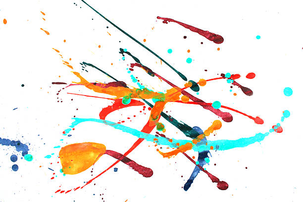 Multicolored abstract splashes of pain on white​​​ foto
