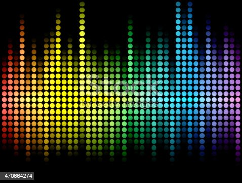 istock Multicolored abstract wave made of dots on black background 470664274