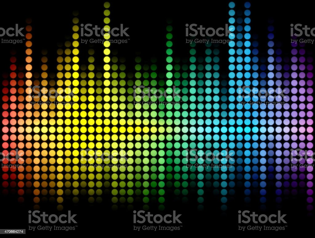 Multicolored abstract wave made of dots on black background stock photo