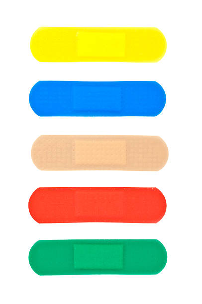 Multicolored Adhasive Band-Aids stock photo