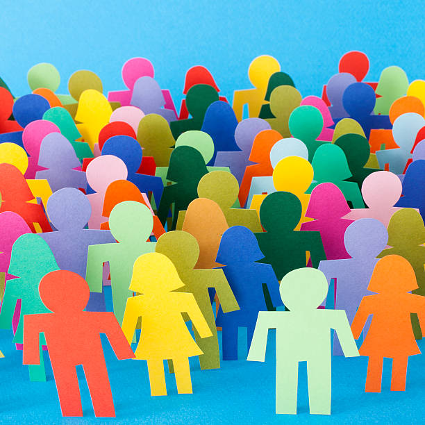 Multicolored anonymous crowd stock photo