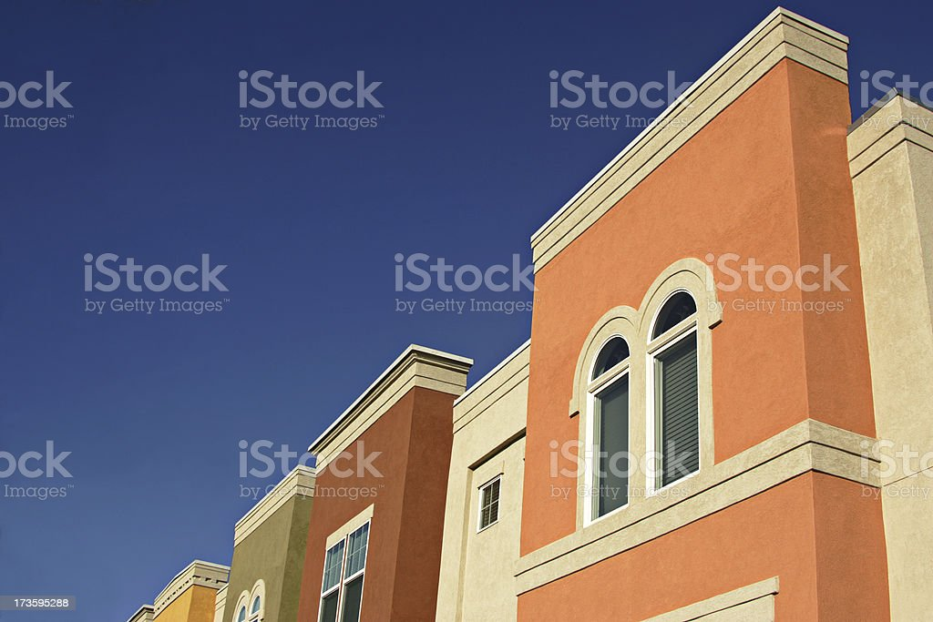 MultiColored Apartment Flats with copyspace royalty-free stock photo